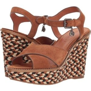 NEW Coach Espadrille Wedge Cross Band Sandal